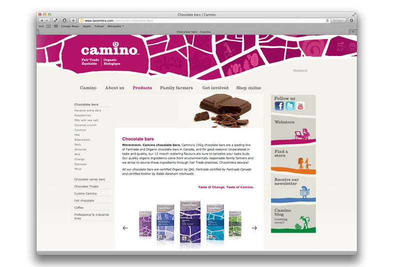 Visual identity applied to Camino website (not designed by Dan O'Leary)